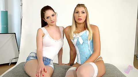 Two chicks in nice outfits Vyvan Hill and Rebecca Volpetti having interview done together
