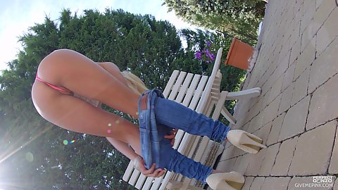 Removing her jeans high heels blonde solo college hottie Christen Courtney showing her goodies