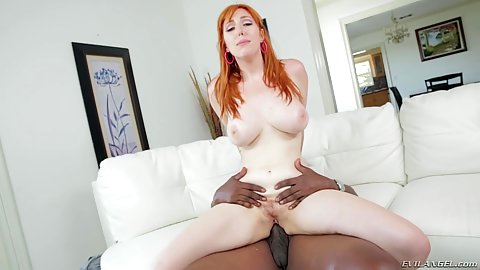 Reverse cowgirl hairy big chested milky skin redhead interracial Lauren Phillips and frontal pounding