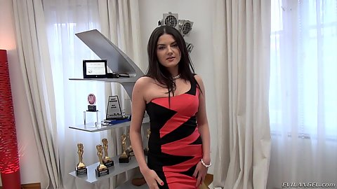 Great dress solo girl Francesca DiCaprio starts to get naked during her shy at first newcomer audition video