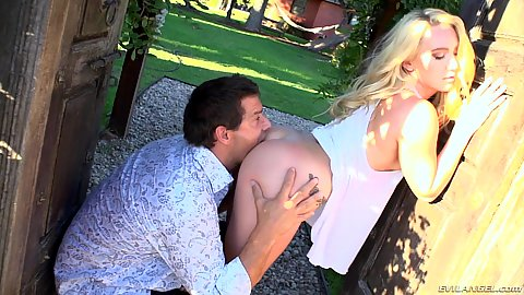 Outdoor ass eating in the doorway with half dressed no underwear blonde AJ Applegate outdoors