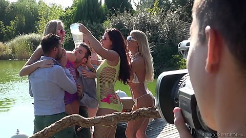 Kayla Green and Lara de Santis with Angel Wicky and Anael Angeli  and Hunter Leone go for hard academy party outdoor orgy