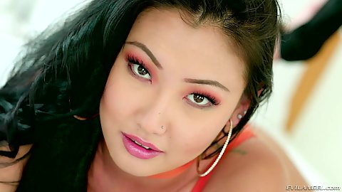 Fresh asian posing lady Jade Luv all natural and has some awesome protruding nipples before pov deep throat