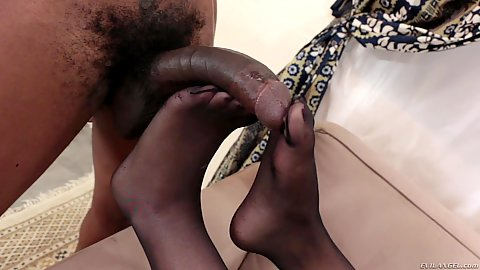 Footjob feet super loving from glittering little small boobed black girl Skin Diamond
