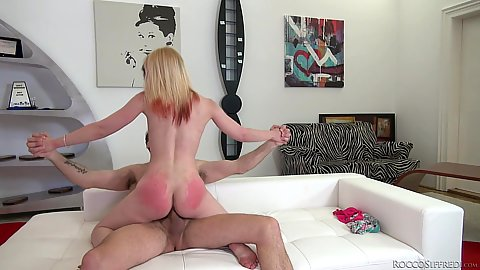 Mini is a little punk girl with colored hair and red ass from a bit too much nailing from big cock Mini