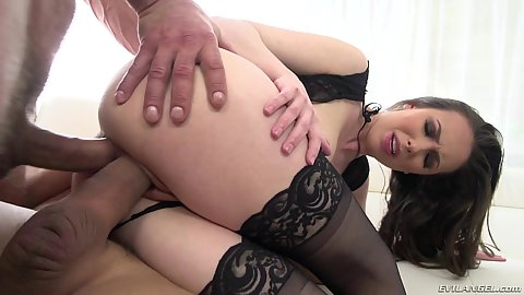 2 on 1 threesome double penetraton stuffing hardcore with in the air penetration Casey Calvert