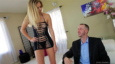 Nice blonde fully dressed Trisha Parks  well if you can call that a dress comes on to a guy dress in like he is into the office