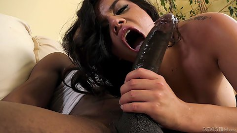 Rough sex oral from petite stepdaughter Monica Sage sucking and sitting on her new black stepdads huge dick with great satisfaction