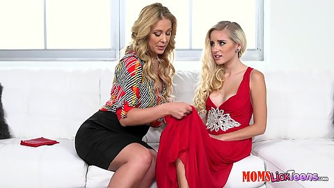 Cherie Deville and Naomi Woods in mom and college girl babes wearing sexy clothes doing fingering and scissoring