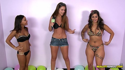 Kaitlyn Shanelle and Michelle Taylor with Dylan Daniels in sexy shopper reality fun play with college girl popping balloons with tits
