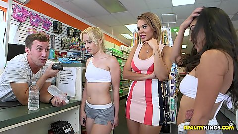 Dylan Daniels joins in on cash for ass reality show in a public store