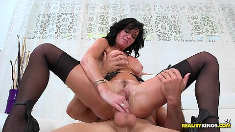 Cock bouncing wet dripping trimmed snatch stockings brunette milf Veronica Avluv doing work relations fuck and pov suck