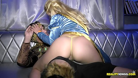 Cosplay at the club with Victoria Roxx and Dylan Daniels and Charlotte Oryan getting lesbian down dirty to business