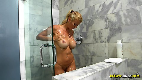 Glorious milf taking a soapy shower solo Alexis Fawx then dude walks in happy to get handjob from stepmom