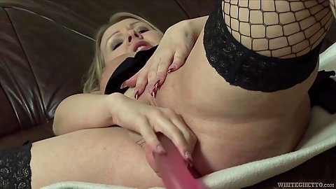 Mature fishnet masturbation with fleshy natural saggy boobed mom Katalin B