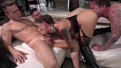 This rough fucking tattoo lady Malena prefers at least three dicks at once or more