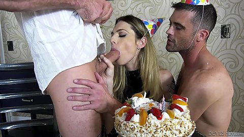 Bisexual husband having lovely birthday with his wife and bf present sharing cake Dahlia Sky