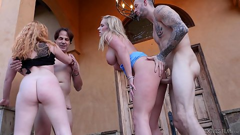Standing fuck and double penetration in the air with horny milf wife swinging busty Rachel Cavalli and Lucy Foxx