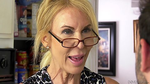Blonde granny in glasses Erica Lauren is old but loves younger mans dicks
