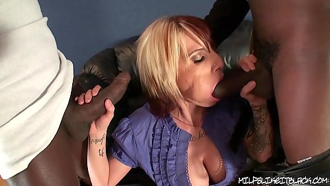 Slut with big tits gets a giant black rod