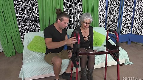 Granny Kelly Leigh got her new walker and needs help from young assistant to start talking but he has something else in mind