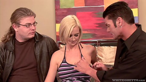 Blonde cuck wife Camryn Cross is allowing another man to touch her while husband watches