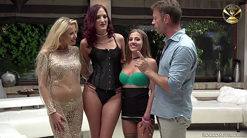 Shona River and Silvia Dellai with Joanna Bujoli and Lyen Parker posing for  quick chat and then making out together with lesbian sex