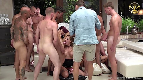 Silvia Dellai and Joanna Bujoli and Lyen Parker and Shona River surrounded by many dicks for sloppy deep throats with a bit of gagging