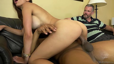 Busty athletic cheating milf housewife Eva Long rides a big black dick of another man while husband is watching it all