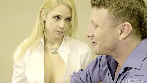 Secretary milf Sarah Vandella at the office selling some cleavage and moves down to suck