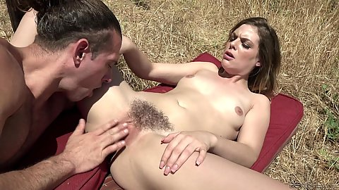 Nature fucking outdoors with all natural body and naturally hairy snatch Kendra Lynn