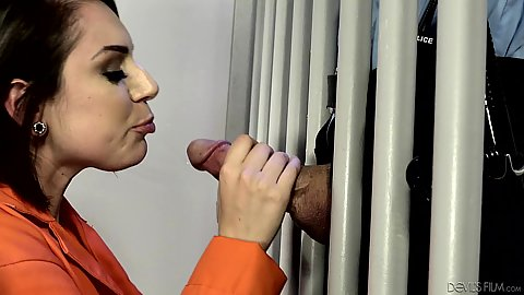 Prison blowjob through the bars with horny latina milf Tori Avano blowing off jail guard