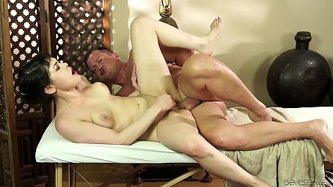 Nice natural breasted asian Audrey Noir pussy nailed on massage table 1 on 1