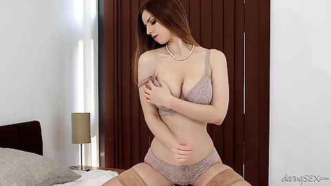Stella Cox bras and panties slowly and erotically stripping before guy walks in