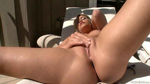 Mia Molkova feeling her hairless cunt up outdoors and thinks about dick all day