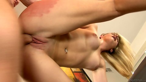 Stepdaghter standing hard drilling in family bedroom with Sami St. Claire