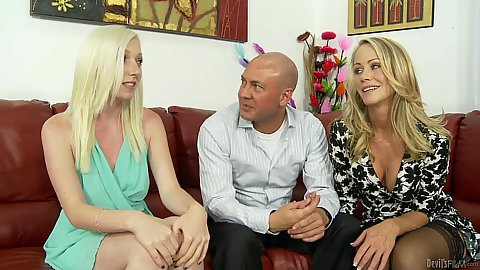 Simone Sonay and Tegan Riley in stepmother introduced to bf about banging stepdaughter then they suck him