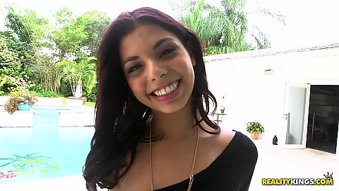 Smiling cute latina solo college girl Gina Valentina acting all fancy outdoors