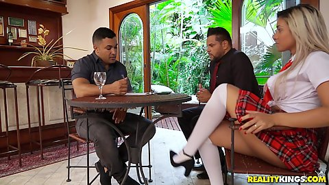 Brazilian school girl outfit college girl Bruna Lambertini chatting up with two guys but feels horny as fuck
