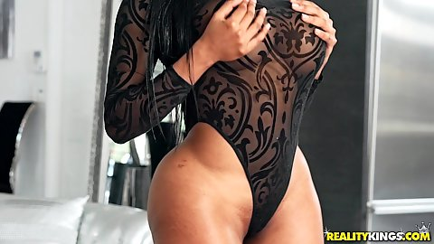 Super wide butt ebony milf in body lingerie Moriah Mills getting boobs and big ass touched