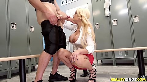 Locker room squatting oral sex and titty fuck with Kenzie Taylor working that quarterbacks dick