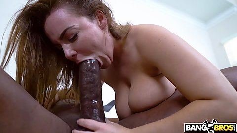 Natasha Nice is attempting to get the head of that monster shaft in her mouth then gives up and surrenders her vagina for intercourse