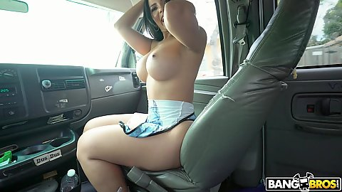 Rose Monroe is a very large jugged brunette that likes to get on the bang bus herself and invite guys in