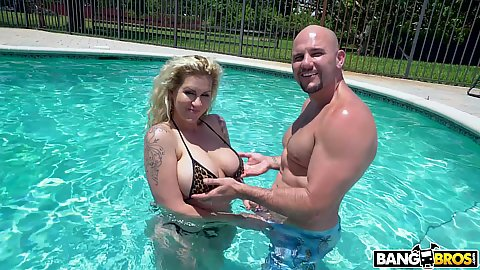 Ryan Conner has some big boobs and just got a new bikini and she jumps in the pool