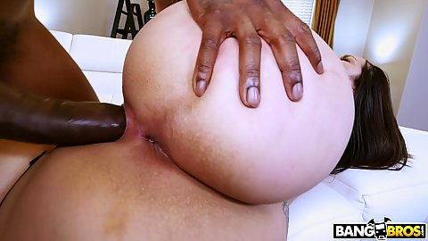 Pussy filled with massive black schlong from the side with Alycia Starr