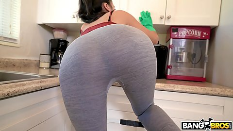 Leggings wearing cleaning lady Michelle Martinez wearing kitchen gloves and stripping nude