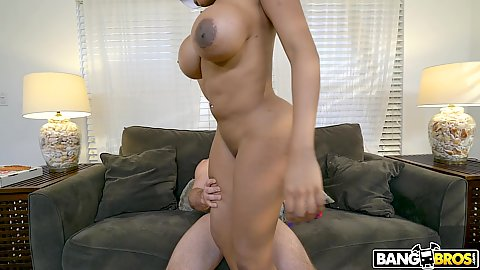 Large knockers black milf Moriah Mills climbs on white cock and sucks him