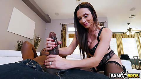 Interracial super big cock tugjob and fellatio with Ariella Ferrera