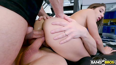 Fast paced anal ramming with double anal double penetration for Abella Danger doing it the hard way