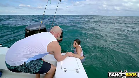Gorgeous latina Vanessa Sky was swimming over Cuba and we fished her out of the water all horny andready to fuck